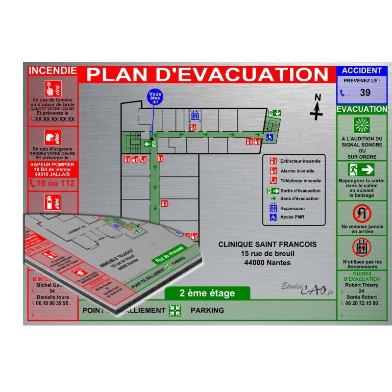 Plan d'évacuation Hôpital A3 support Dibond Alu 60x40cm