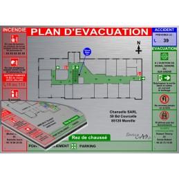 Plan d'évacuation BUREAU A3 support Dibond Alu 60x40cm