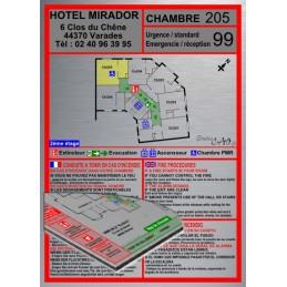Plan d'évacuation chambre support Dibond Alu 40x20cm