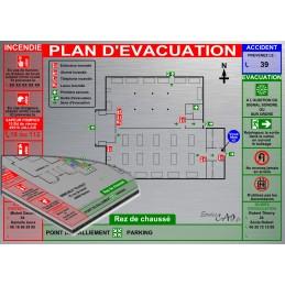 Plan d'évacuation USINES A3 support Dibond Alu 60x40cm
