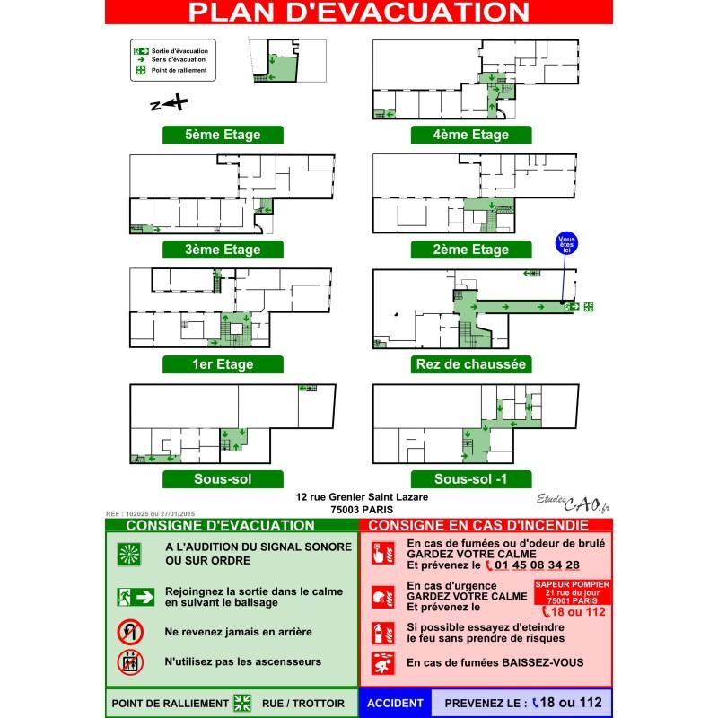 Plan d'évacuation HABITATIONS A2V plastifié