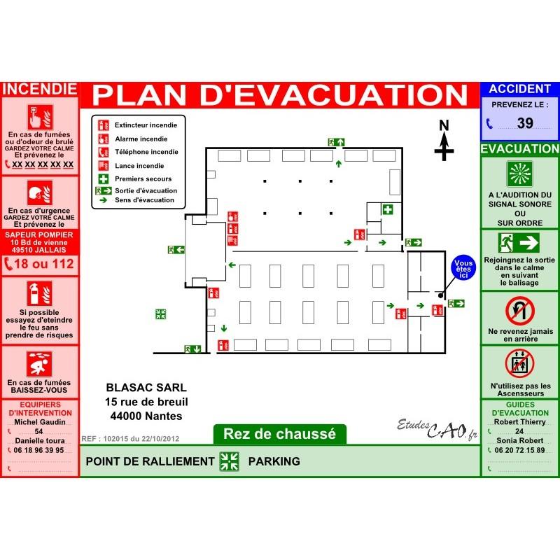 Plan d'évacuation pour usines