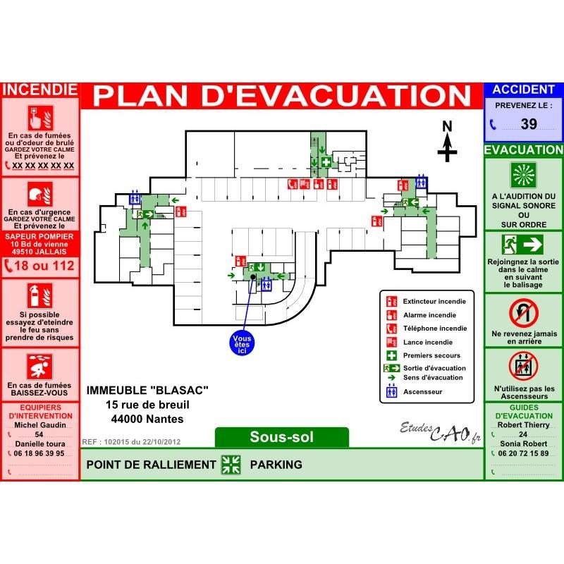 Plan d'évacuation pour parking