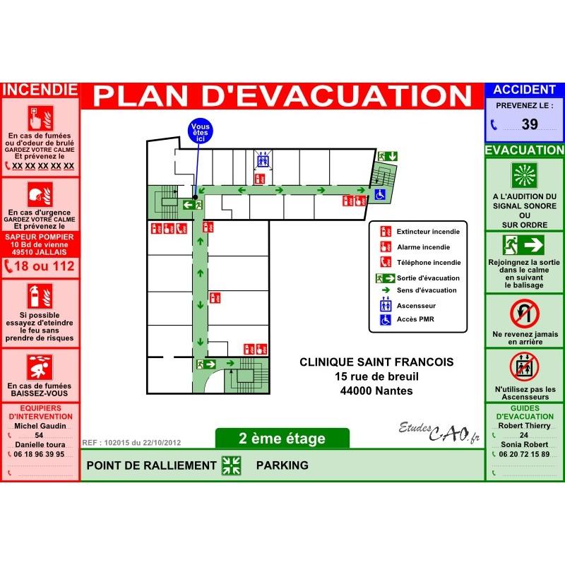Plan d'évacuation hôpitaux A3 plastifié