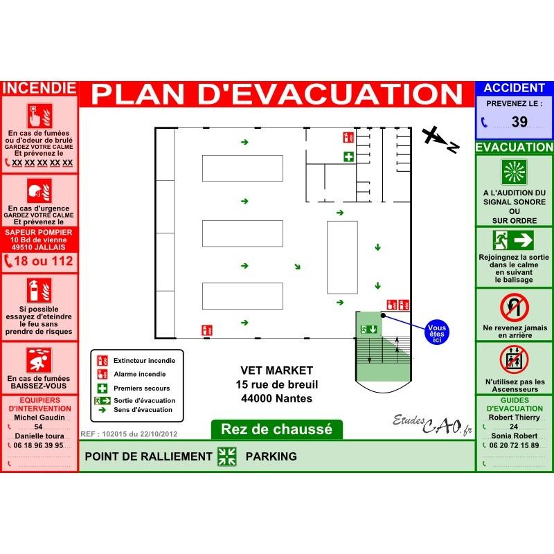 Plan d'évacuation hypermarché