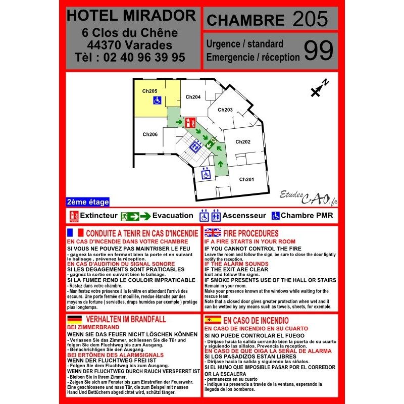 Plan d'évacuation chambre hôtel