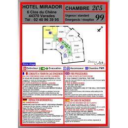Plan incendie avec consigne de sécurité chambre hotel