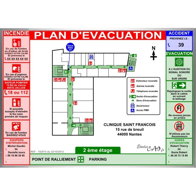 Plan d'évacuation hôpitaux cadre alu