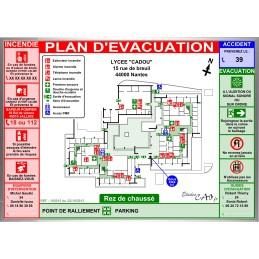 Plan d'évacuation écoles A3 cadre alu