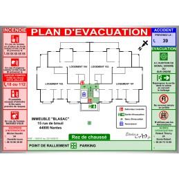 Plan d'évacuation habitations A3 cadre alu