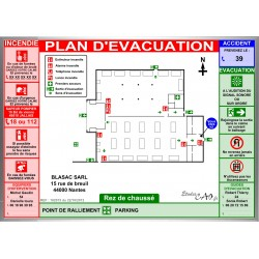 Plan d'évacuation usines A3 cadre alu
