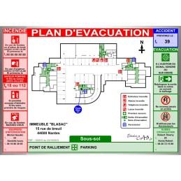 Plan d'évacuation parking A3 cadre alu