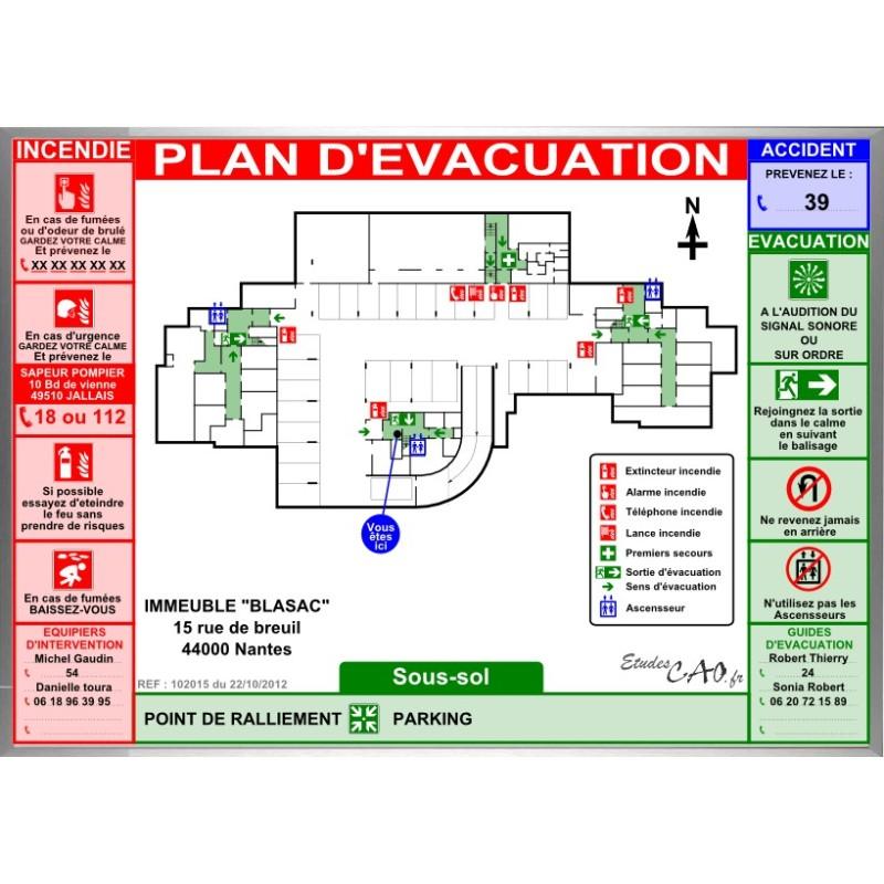 Plan d 39 vacuation pour parking affiche alu for Parking f porte de versailles