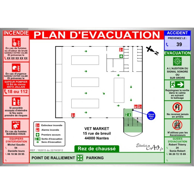 Plan d'évacuation magasin super marché cadre alu