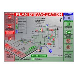 Plan d'évacuation écoles A3 support Dibond Alu 60x40cm